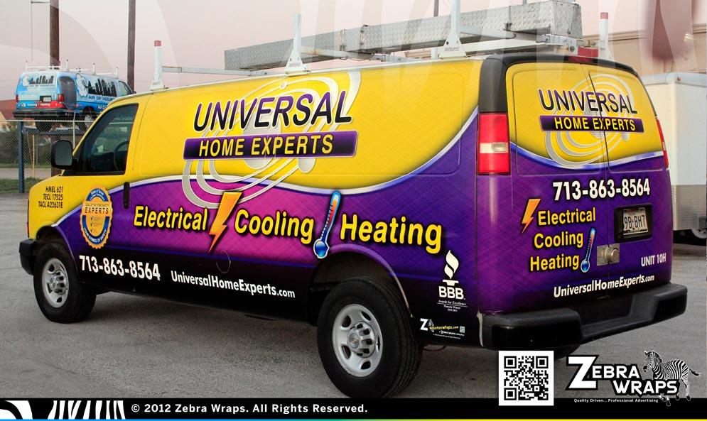 UniversalHomeExperts_Van_Chevy_ZebraWraps_HoustonWraps_Rear