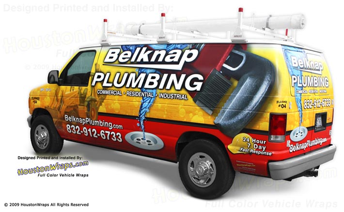 Houston Wraps - Plumbing Van Wrap - Belknap Plumbing
