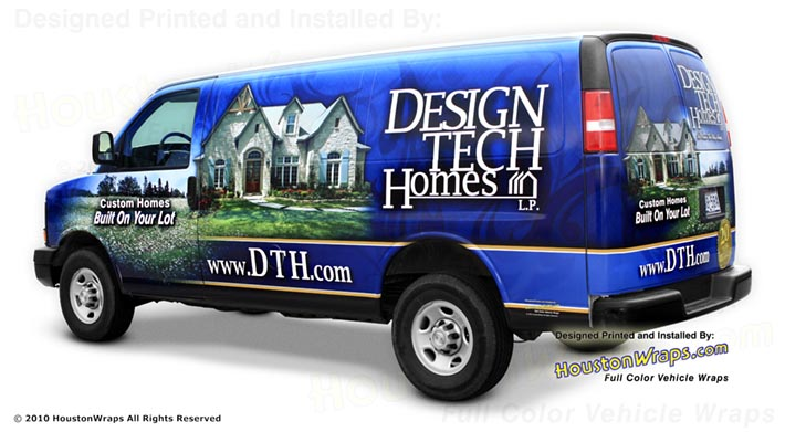 Houston Wraps - Design Tech Homes - Van Wrap - Drive Cutout