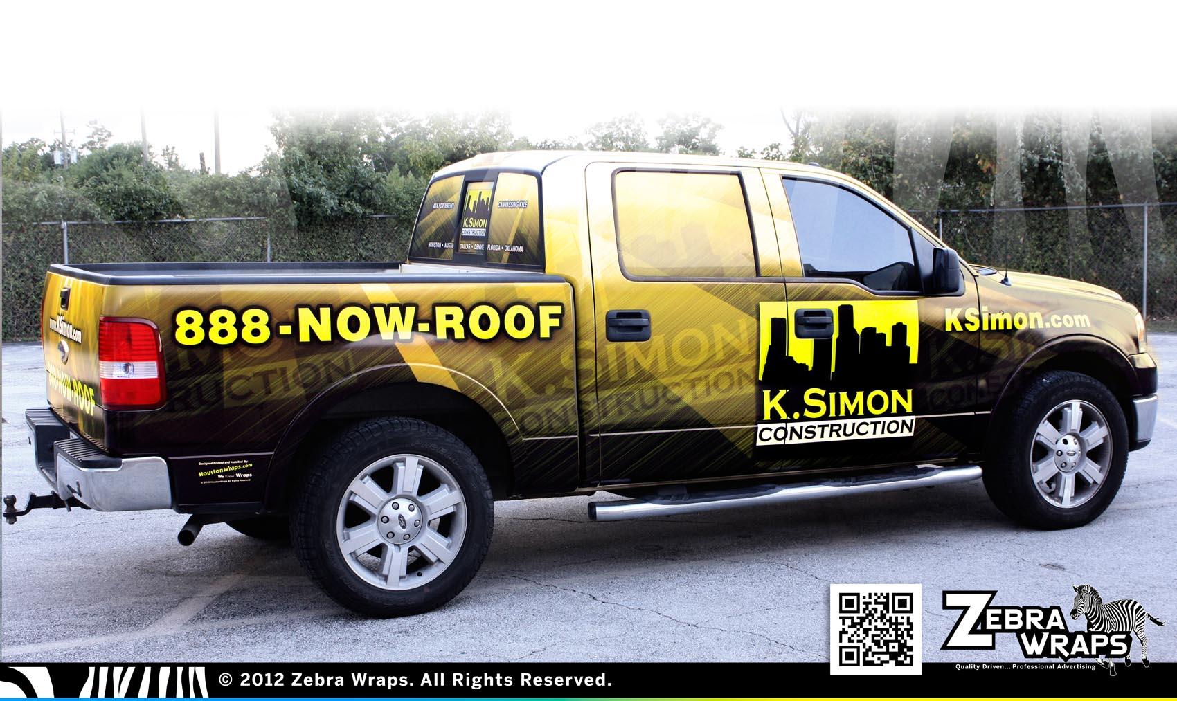 Roofing Vehicle Wrap : K simon jubile construction roofing wrap zebra